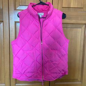 J. Crew puff vest. Pink. Size L